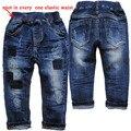 3960 0-3 remendo calças jeans calças dos meninos da criança calça jeans crianças calças de brim do bebê moda primavera outono azul marinho crianças das roupas