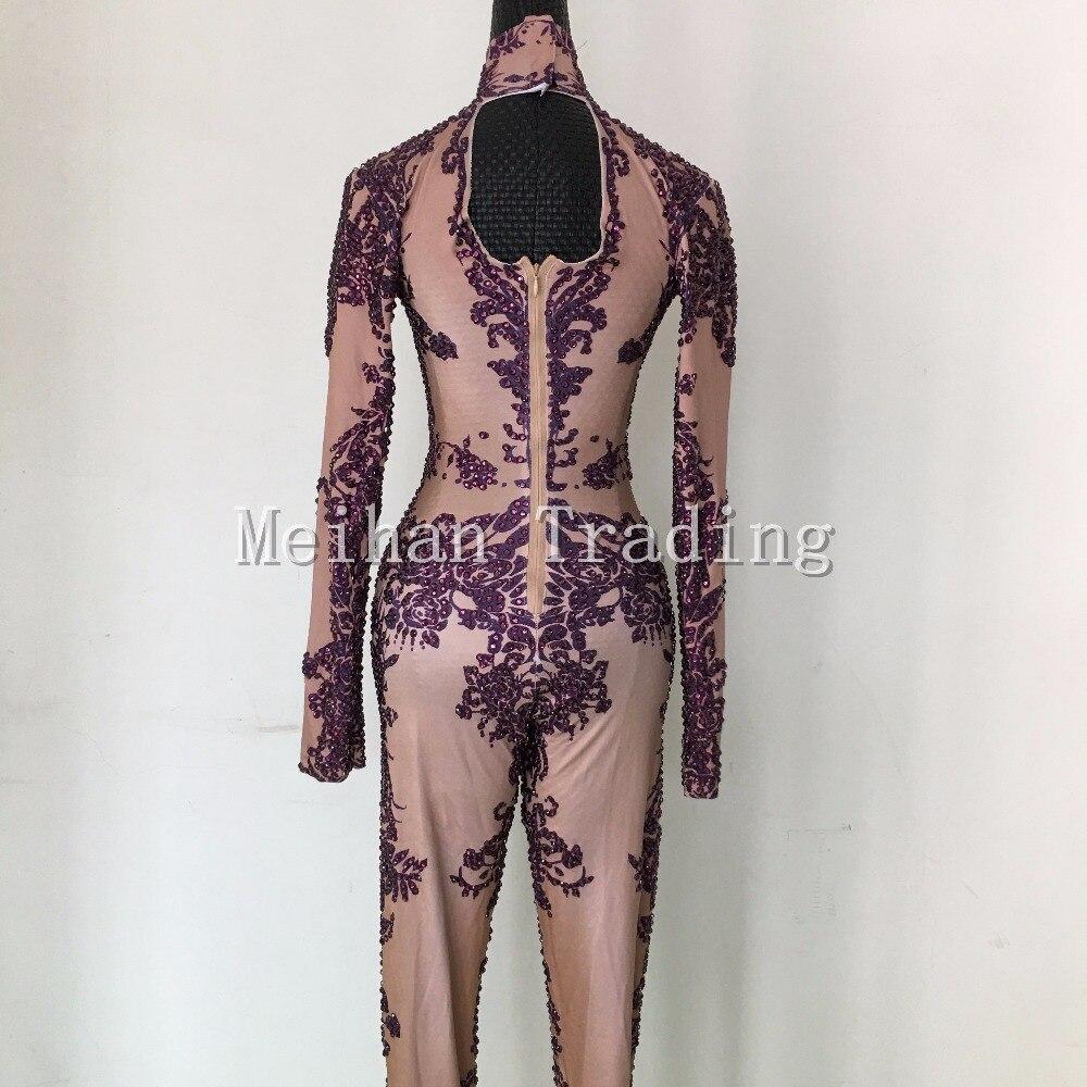 Aliexpress.com   Buy Hot Fashion Sexy Purple Bodysuit Rhinestones Jumpsuits  Nightclub Dance Wear Long Sleeve Bodysuit Costume Female Party Wear from ... b1e13f6178aa