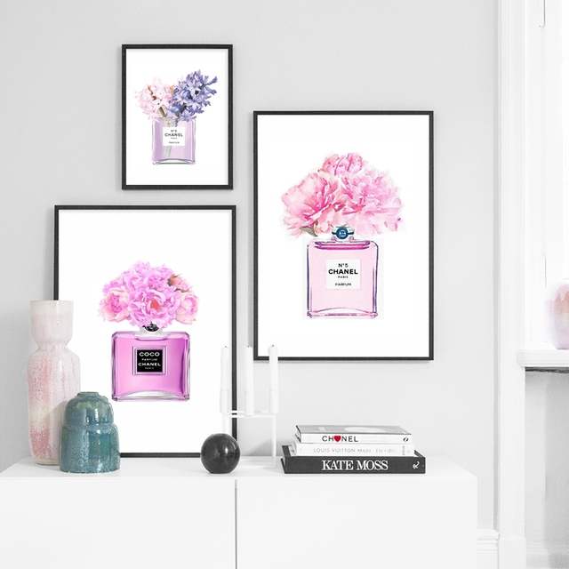 Watercolor perfume bottle poster fashion prints canvas painting watercolor perfume bottle poster fashion prints canvas painting vase peonies flower art wall pictures fashion mightylinksfo