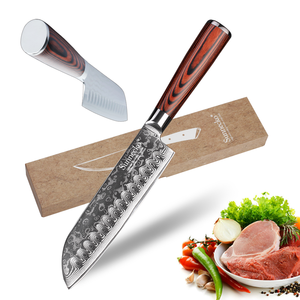 SUNNECKO 7 inch Santoku Knife Kitchen Knives Japanese Damascus VG10 Steel 60HRC Blade Pakka Wood Handle Chef Filleting KnifeSUNNECKO 7 inch Santoku Knife Kitchen Knives Japanese Damascus VG10 Steel 60HRC Blade Pakka Wood Handle Chef Filleting Knife