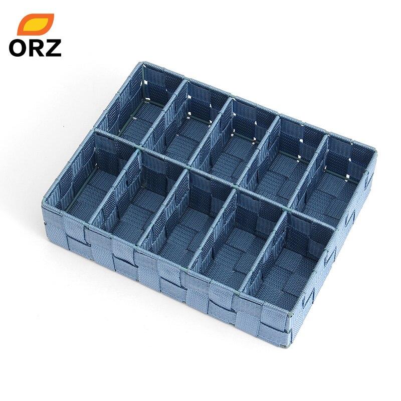 nouveau produit 2c2a0 9dc66 € 17.28 39% de réduction ORZ 10 compartiments panier de rangement maison  placard armoire bac de rangement tissé Nylon bandes cravate chaussettes  sous ...