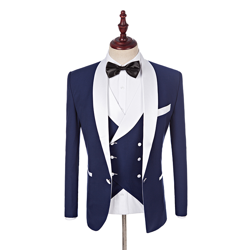 Seespmall Blue White Men Suits With Pants Wedding Business