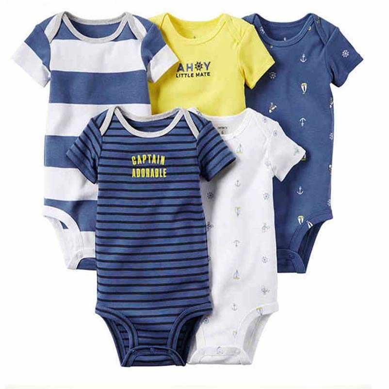 Новорожденных одежда для малышей новорожденных мальчиков и девочек  Полосатые Боди Комплект 2019 летний костюм короткий рукав b81438575aca0