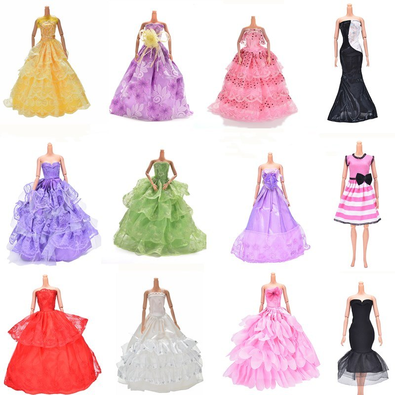1PC Multi Layers Summer Handmade Doll Princess Dress or Shoes Clothing Floor Length Party Wedding Dress For Accessories