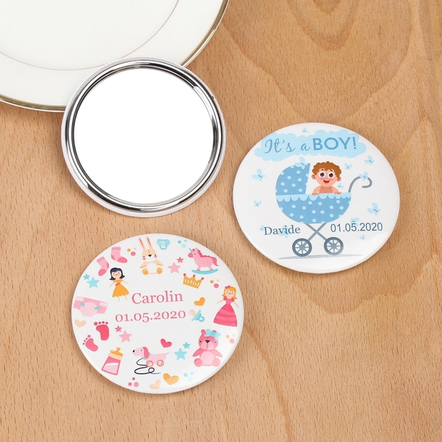 Miroir de maquillage avec logo personnalisé | Miroir de poche avec nom et date, cadeau de fête danniversaire, de réception-cadeau pour bébé, cadeau de baptême