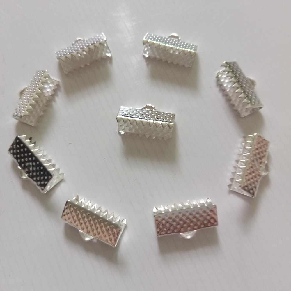 100 個圧着ビーズクラスプコードエンドクリップストリングリボン革クリップ折り返しネックレスブレスレット diy のジュエリーメイキング
