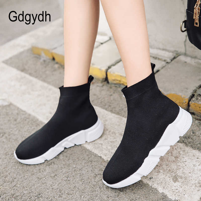 67026c451 Gdgydh 2018 New Spring Autumn Women Vulcanize Shoes Slip On Stretch Fabric  Black Sneakers Platform Heels