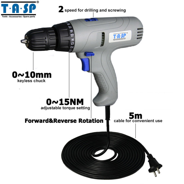 TASP MESD280C 220V 280W Electric Drill Screwdriver Power Tool Set for Drilling & Screwing with Keyless Chuck & 5m Cable  1