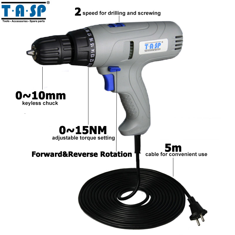 Image 2 - TASP 280W 2 Speed Electric Drill Screwdriver   Keyless Chuck   5m Cable for Better Drilling & Screwing Power Tool Set  MESD280C-in Electric Drills from Tools on