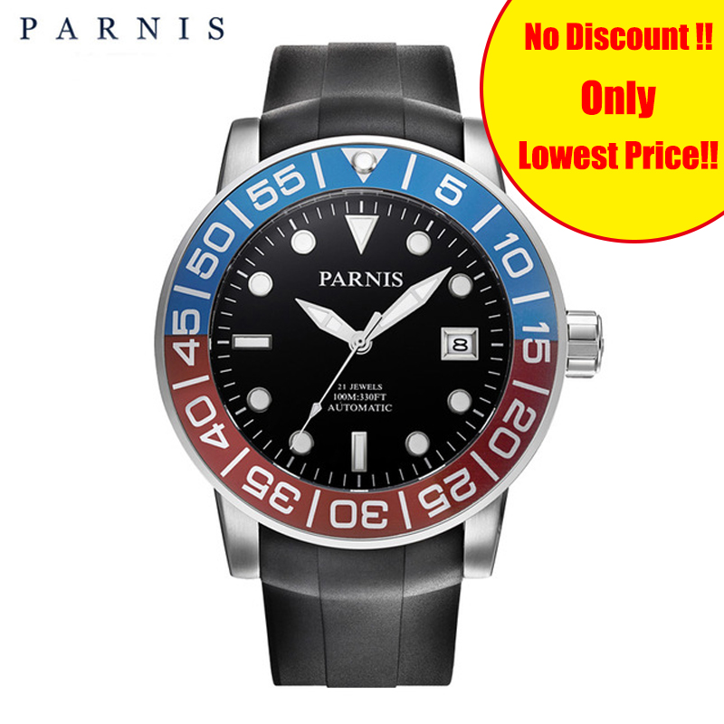 Parnis 21 Jewel Sports Automatic Mechanical Men's Watch Sapphire Rotating Blue Red Bezel Luminous Rubber Band Mens Watches Clock image