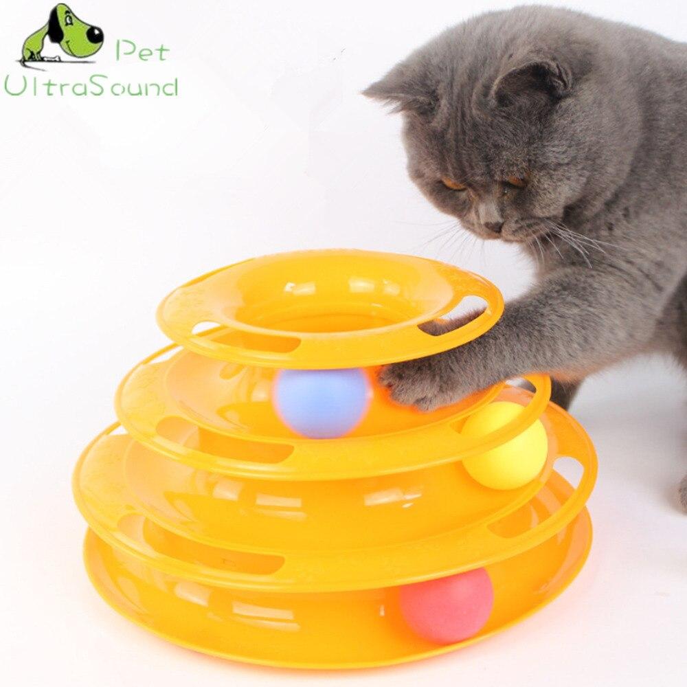 Gato Bola Torre de Faixas e Pista Brinquedo Interativo para Gatos, divertido Jogo Inteligência Triple Play Disco Gato Para Bolas de Brinquedo Do Gato