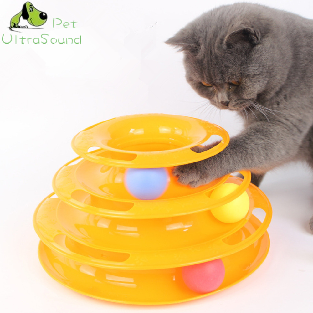 ULTRASOUND PET Funny Cat Pet Toy Cat Toys Intelligence Triple Play Three Levels Disc Cat Toy Balls Toys Pets Green Orange Pink