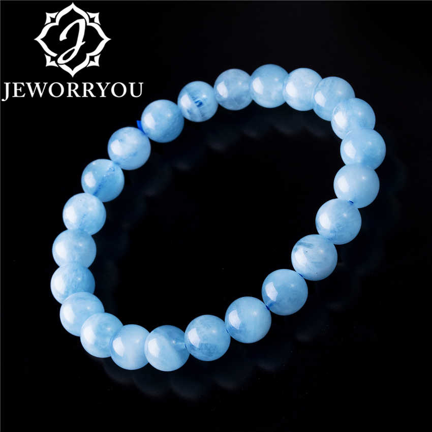 6-12mm Aquamarine Bracelet Femme Aquamarine Beads Bracelet Round Blue Natural Stone Beads Stretch Bracelets For Women