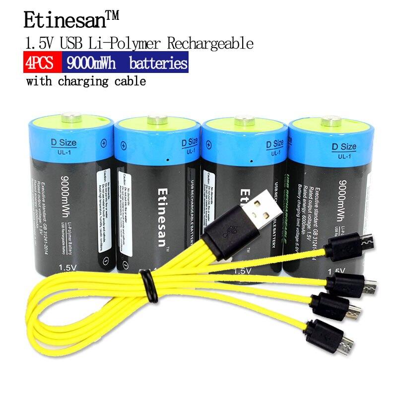 Puissant 4 pièces Etinesan 1.5 V 9000mWh li-polymère Rechargeable D taille batterie Li-ion USB batterie avec USB chargeant le paquet de câble