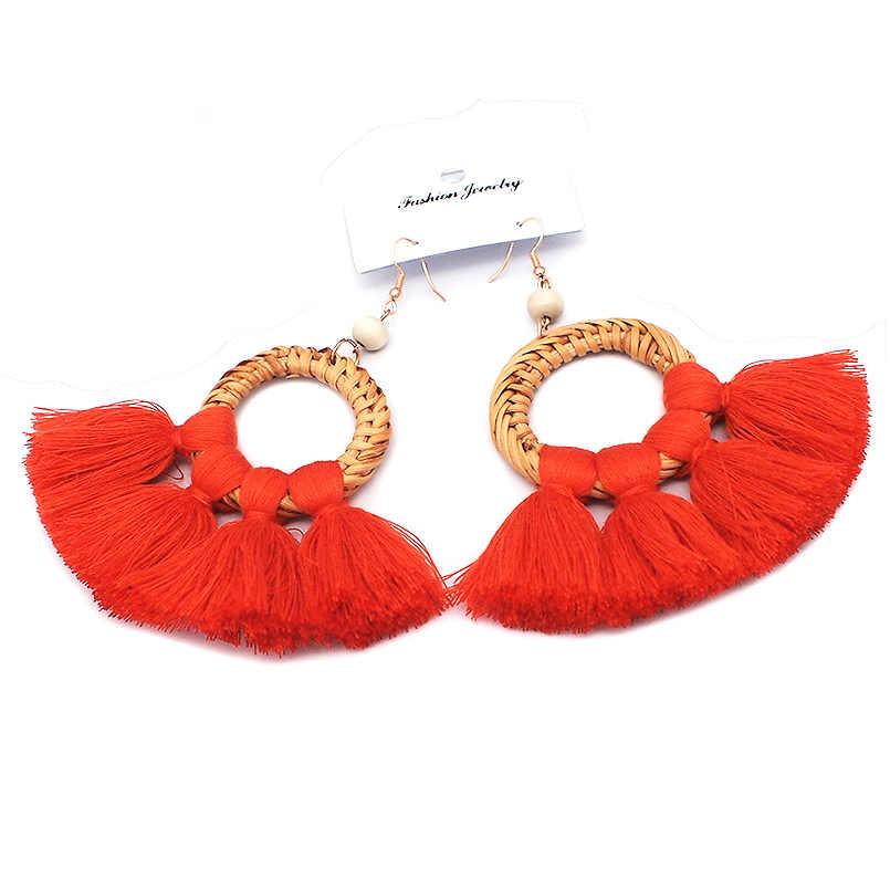 MANILAI, большие круглые соломенные серьги из ротанга с широкими кисточками, серьги в богемном стиле, ювелирные изделия, массивные этнические серьги с подвеской для девушек