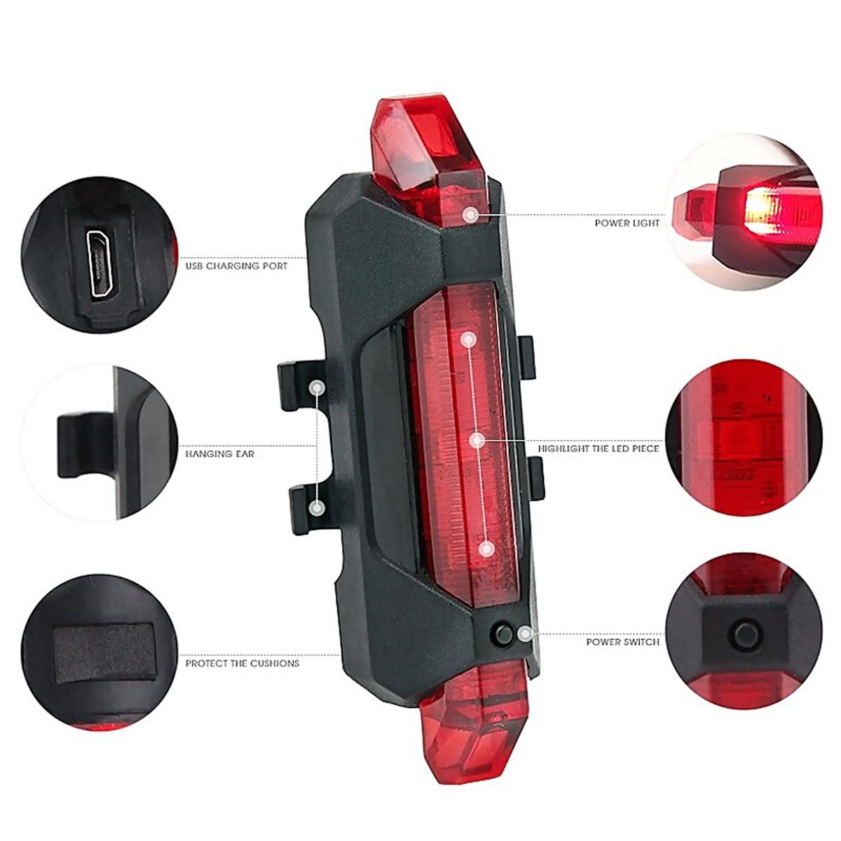 Lumière d'avertissement de sécurité arrière de queue de vélo Rechargeable USB Portable lampe de feu arrière Super lumineux ASD88