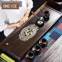 Цельный кусок эбенового чая лоток из массива дерева плоский стол прямой ряд большой кунг фу набор морской Китайский кунг фу бамбуковые чайн