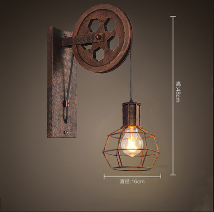 Loft Style Antique Wall lamp Lift Retractable Pulley Wall Sconce Lighting Bar Cafe LightLoft Style Antique Wall lamp Lift Retractable Pulley Wall Sconce Lighting Bar Cafe Light