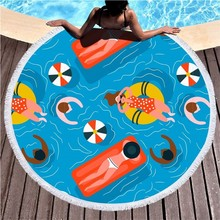 Swimming Ring People Round Beach Towel Microfiber Summer Sport Bath Pink Flamingo Large Yoga Mat Blanket