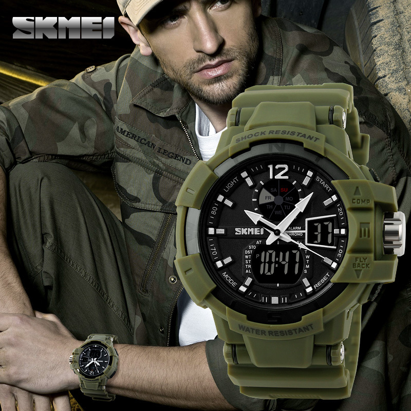 Fashion SKMEI Outdoor Military Watches LED Waterproof Men Woman Sports Watch Digital Quartz Multifunction Wristwatches 1040#