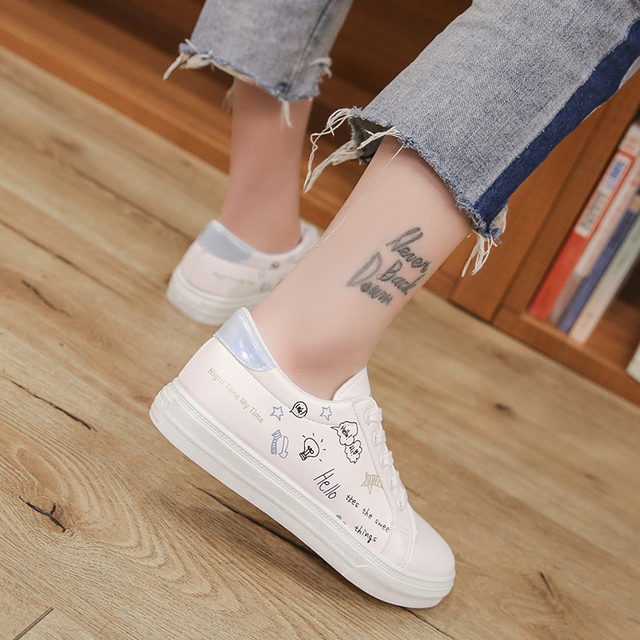 BeautyFeet Flats British Oxford Shoes for Women Spring Canvas Flat Heel Casual Shoes Woman Graffiti Lace Up Women Shoes Female