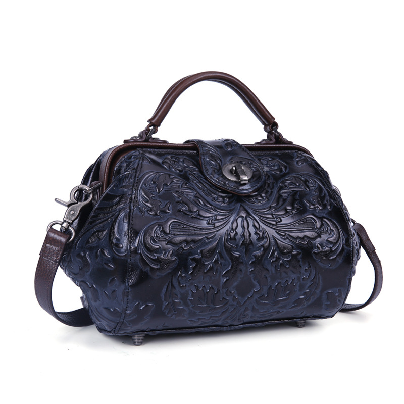 national style Cow leather Classic flower embossing women bag genuine leather lady's handbag vintage Boston bag 3 colors vintage style twig shape flower embellished women s earring