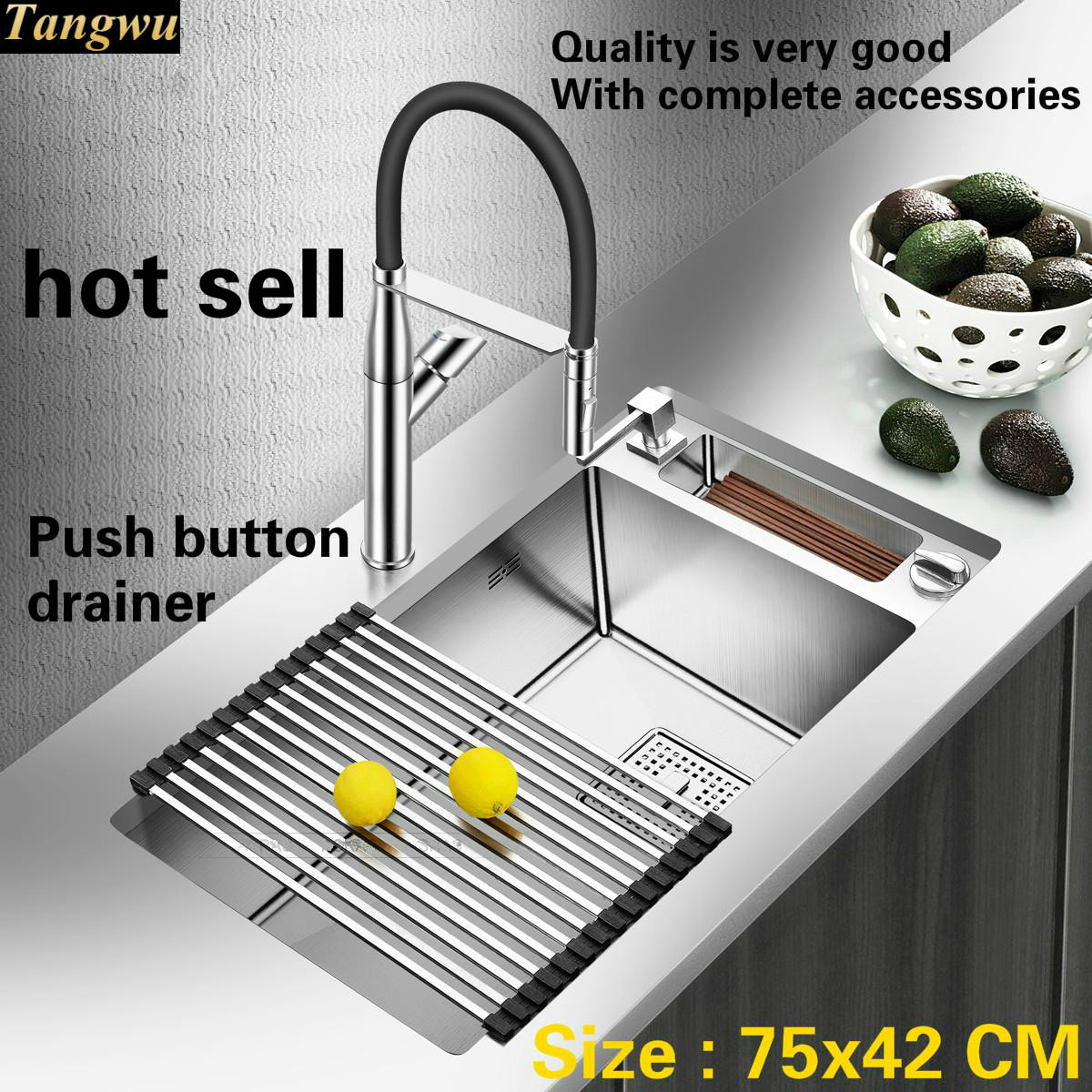 Free Shipping Apartment Big Kitchen Manual Sink Single Trough Dish Washing 304 Stainless Steel Luxury Hot Sell 750x420 Cm