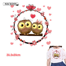 Nicediy Cute Owl Heart Patch Heat Transfer Iron On A-level Washable Clothes Stickers Print By Household Irons Applique DIY