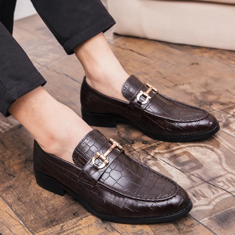 Sapatos Genuíno Homens Do Cópia brown Dos Black K4 Sapatas Luxo Floral Festa Dedo Flats Couro Pé Casamento Pontas Vestido Formal Escritório De Da qSfP6