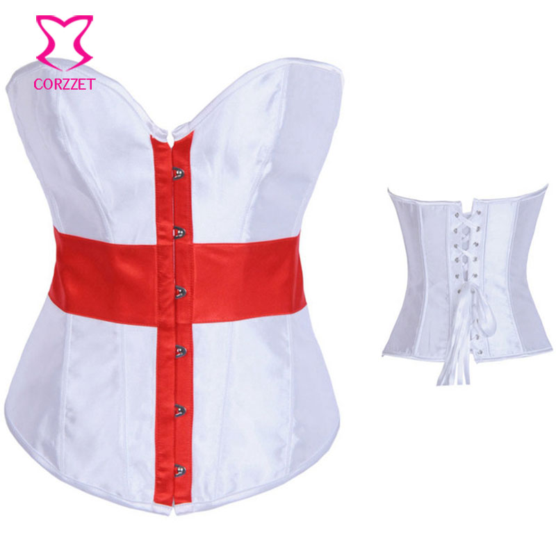 Corzzet Red Cross Print White Satin Overbust   Bustier     Corset   Sexy Burlesque Strap Gothic Clothes Lace up   Corsets   Women Corselet