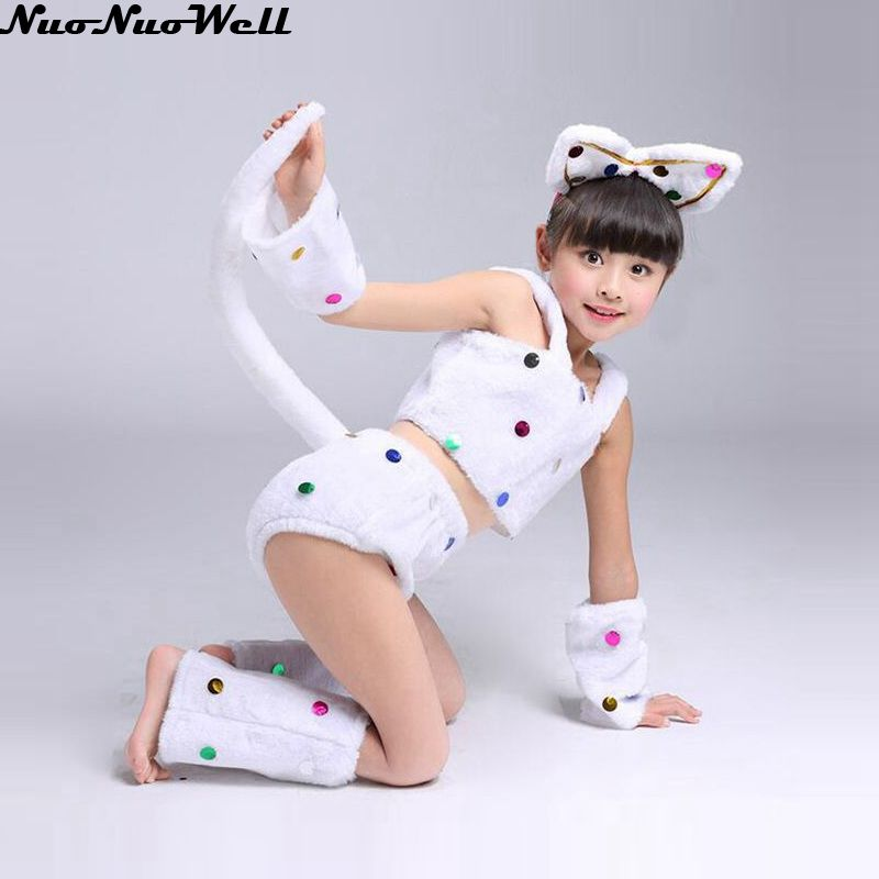 Kids White Cat Girl Suit Carnival Cosplay Costume Childrens Day Fancy Dress Party Clothing with Ears & Short Sleeve & Set Foot