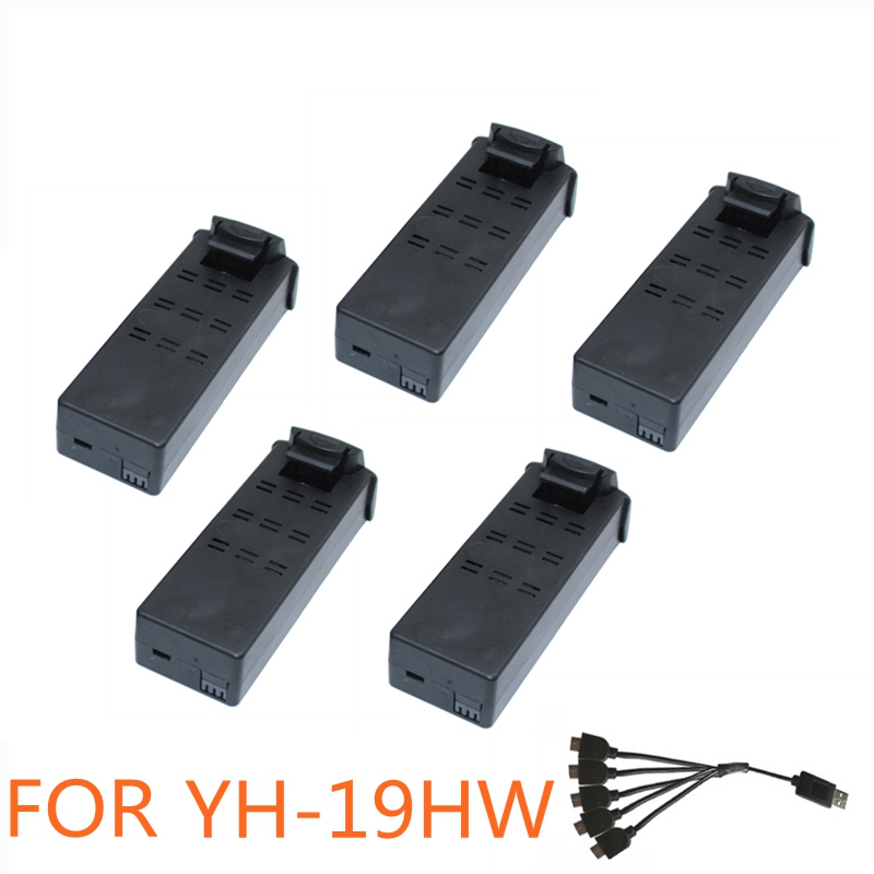 5pcs Battery For Yh 19hw Drone Battery Rc Drones Spare Part With Lipo Battery 3.7v 800mah Accessory Quadcopter Kit lipo battery 7 4v 2700mah 10c 5pcs batteies with cable for charger hubsan h501s h501c x4 rc quadcopter airplane drone spare