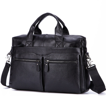 Lachiour Black Pu Leather Laptop Bag For 14 Inch Laptop 1