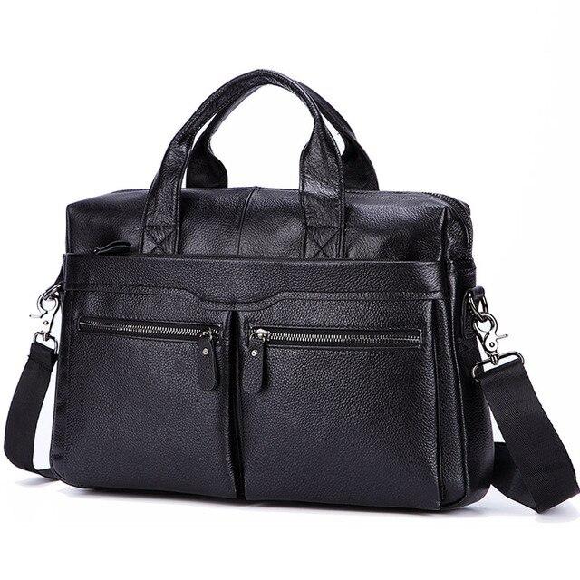 Lachiour Black Pu Leather Laptop Bag For 14 Inch Laptop 1