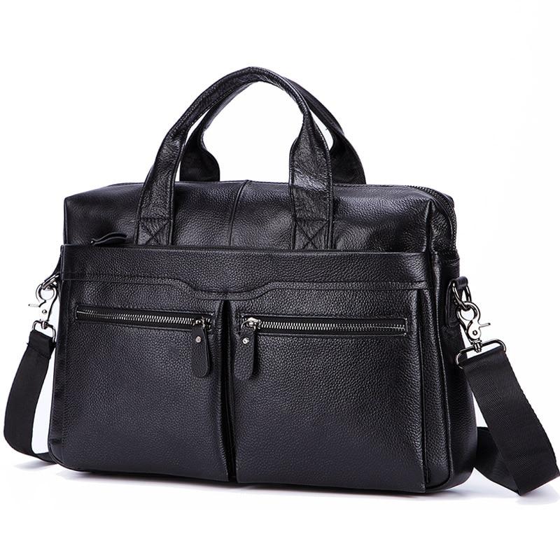 Black Men Genuine Leather Handbags Large Leather 15