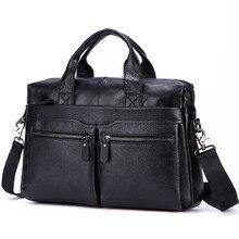 Black Men Genuine Leather Handbags Large 15 Laptop Messenger Bags Business Mens Travel Shoulder Briefcase