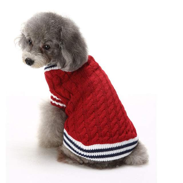 Dog Christmas Sweater.Us 11 96 Pet Christmas Sweaters Reindeer Dog Clothes Autumn Striped Sweet Christmas Sweater Halloween Snowflakes Dog Clothes Winter In Dog Sweaters