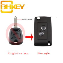 цена на BHKEY 2 Buttons Modified Flip Folding Car Key Case Blank Shell For Peugeot 106 206 306 307 406 NE73 Blade Car key Shell Fob
