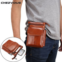CHEZVOUS Genuine Leather Vintage Messenger Traveling Shoulder Bag Waist Bag For Iphone Below 6 5 Inch
