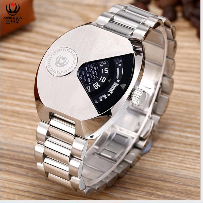 Creative Brand Mens Sports Watches Pointerless Personalized NO Hands Quartz Wristwatch Full Steel Oval Watch Novel Concept Reloj