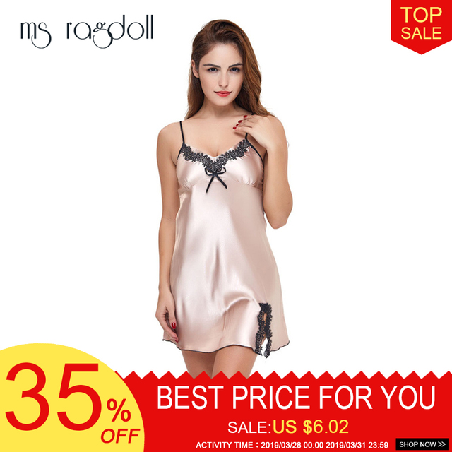 9b56fef07 2XL Plus Size Lace Sexy Lingerie Women Dress Deep V Neck Sleepwear Babydoll  Underwear Nightwear Silk Satin Nightgown 2019