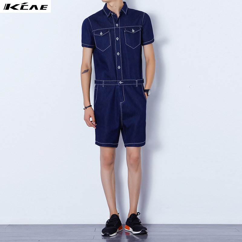ФОТО Men's fashion new jumpsuit summer short-sleeve tooling one piece denim sports set bodysuit costumes pants trousers black blue