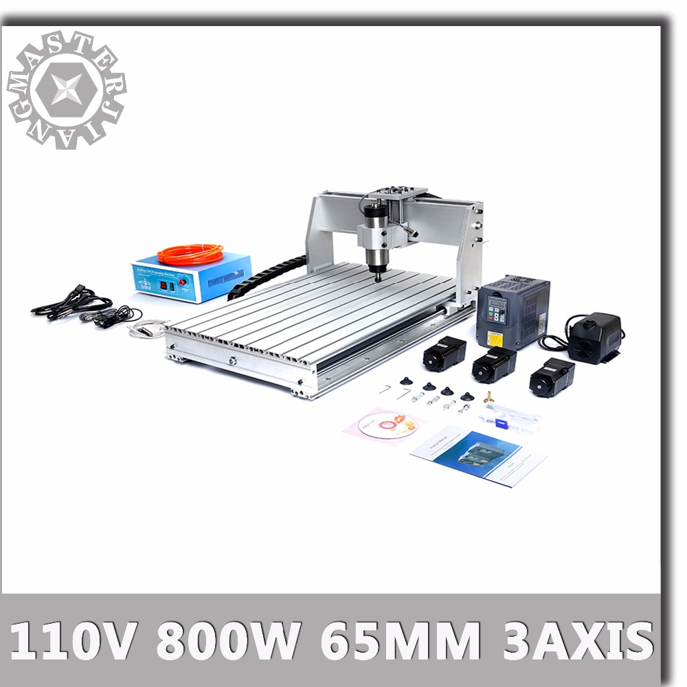 110V 6040T CNC Machine 3 Axis 800W Water cooled 1.5KW HY