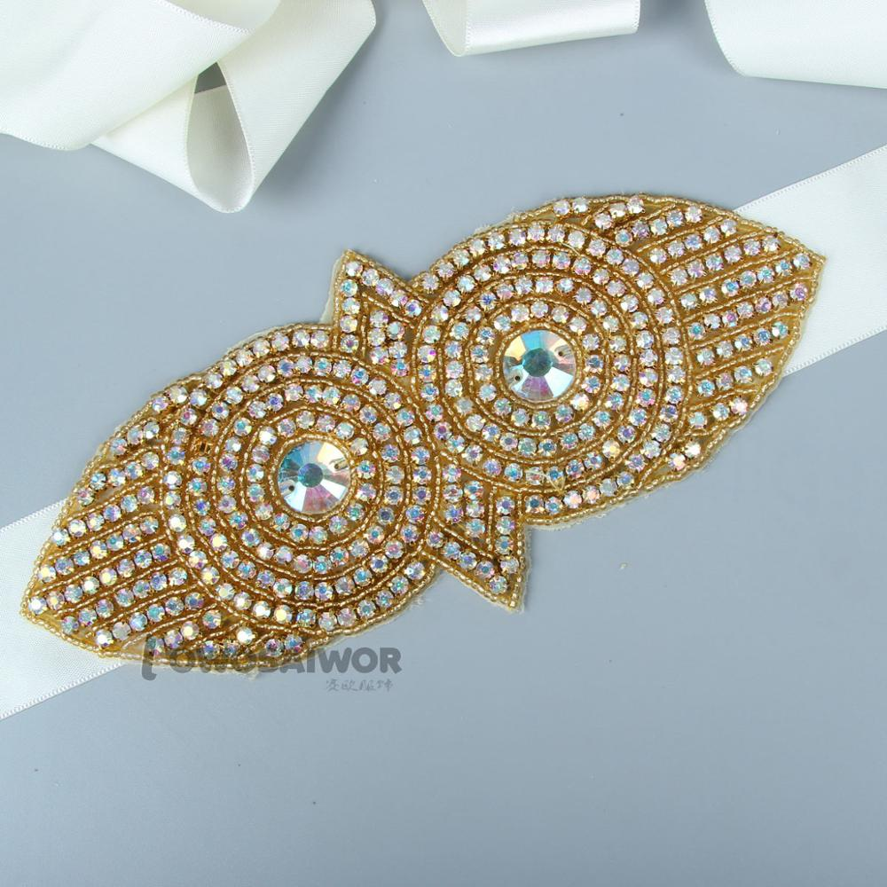 Luxury Gold Big Colorful Rhinestones Wedding Dress Sash Delicate Exclusive Bridal Sash