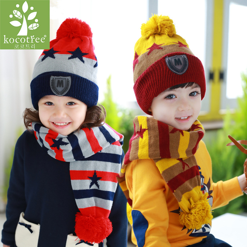 Kocotree 1 To 4 Years Old Children Two Pieces Of Winter  Hat And Scarf  4 Colors Available Boys And Girls Winter Warm Cap