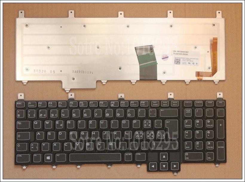 NEW for Dell Alienware M17x-R4 M17X R4 black Backlit Swiss SW keyboard DP/N:0W0M92 NSK-D8G00 PK130MK1B07