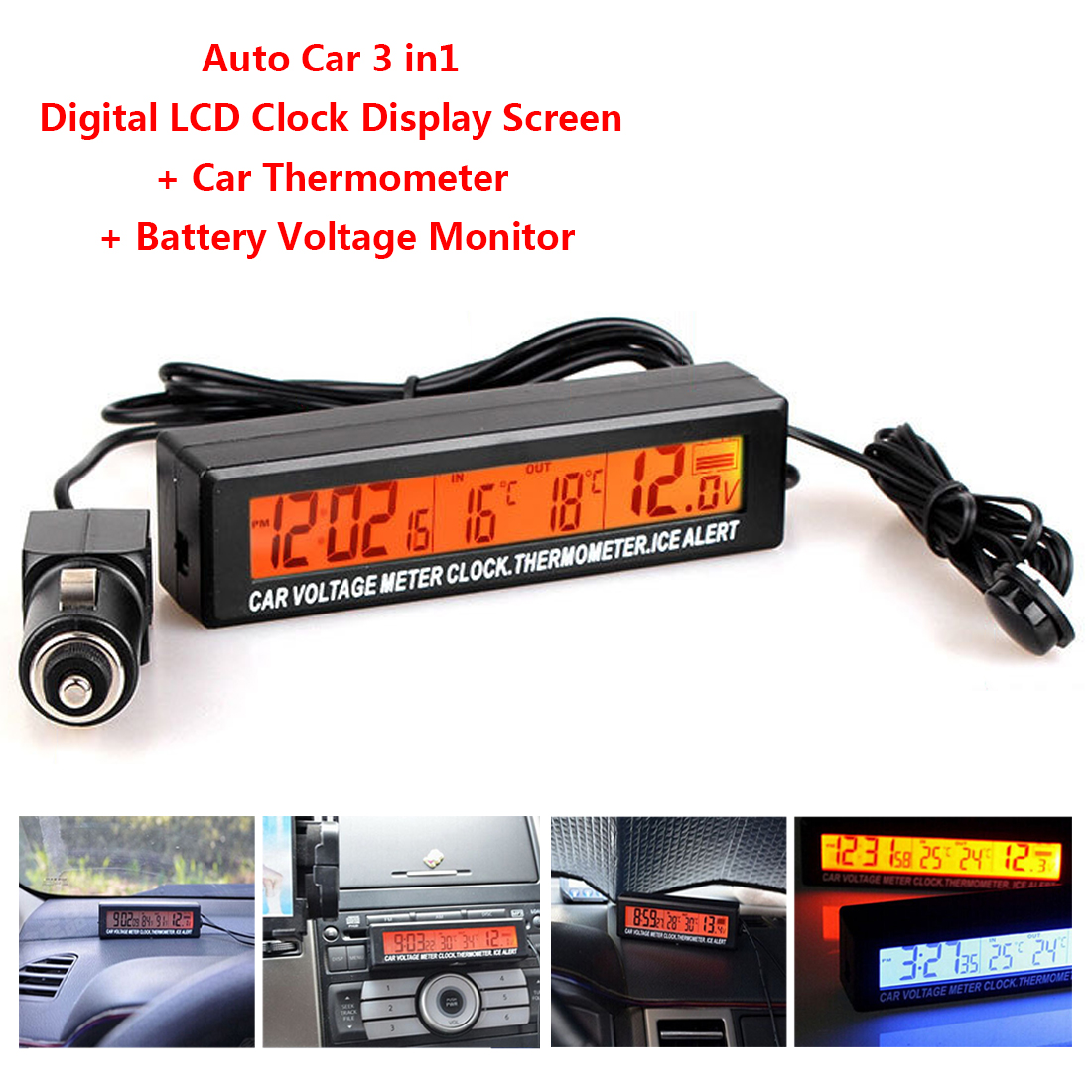Factory Outlet Digital Car Thermometer Battery Voltage Monitor 3 In 1 Auto Thermometer Voltmeter LCD Clock Car Cigarette Socket