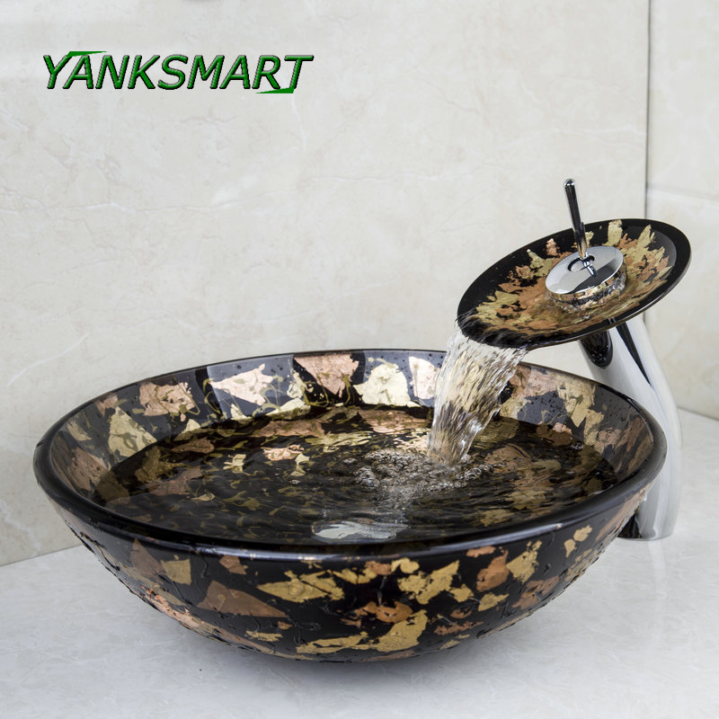 Yanksmart European Wash Basin Tempered Glass Hand Painted