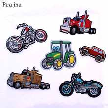 Prajna Mini Car Lego Truck Embroidered Patches For Clothing Applique Iron On Patches On Clothes Jacket Vehicle Stickers Sewing F(China)