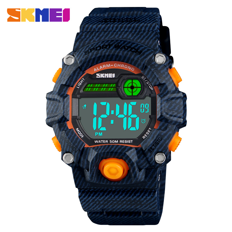Fashion Boys And Girls Watches 50 Meters Waterproof  Plastic Shell Kids Led Digital  Watch For Children Student Clock SKMEI